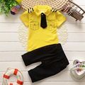 Boys Summer Clothing Suit T-shirt Tie 2016 Summer Kids Clothes Sailor Casual Set Kids Short Sleeved Outfits Age 1-4Y