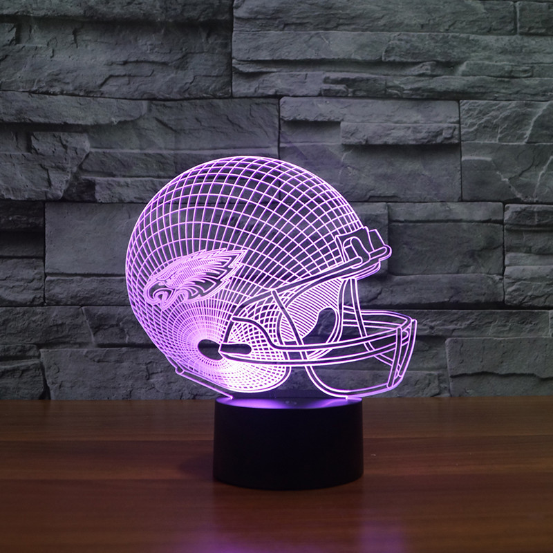 led light gift furnitures for children fans 3d led Philadelphia Eagles football cap helmet
