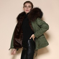 Real fur Army Green outerwear Women or men Winter Fashion high quality name brand Coat