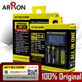 Original Nitecore D4 D2 Novo I2 I4 carregador Inteligente LCD 18650 14500 16340 26650 10440 Carregador de Bateria com Bateria de Carro carregador