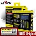 Original Nitecore D4 D2 Nueva I2 I4 cargador LCD Inteligente 18650 14500 16340 26650 10440 Cargador de Batería con la Batería Del Coche cargador