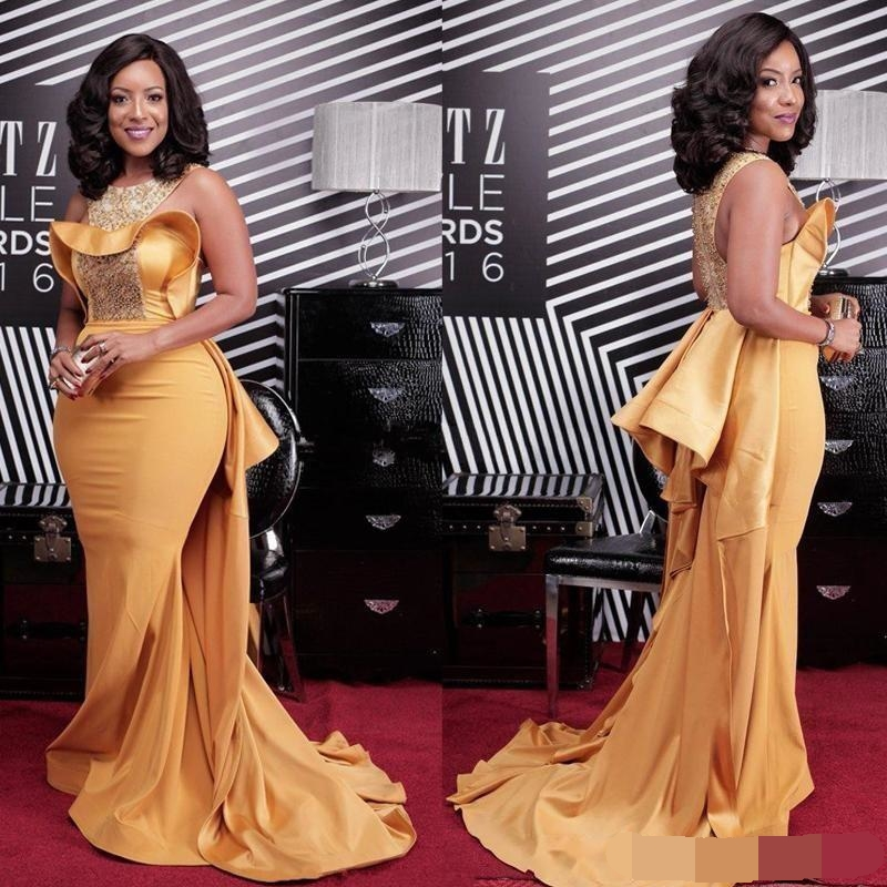 2019 African Gold Mermaid Evening Dresses With Over Skirt Sequins Beads Formal Prom Party Gowns Special Occasion evening Dress