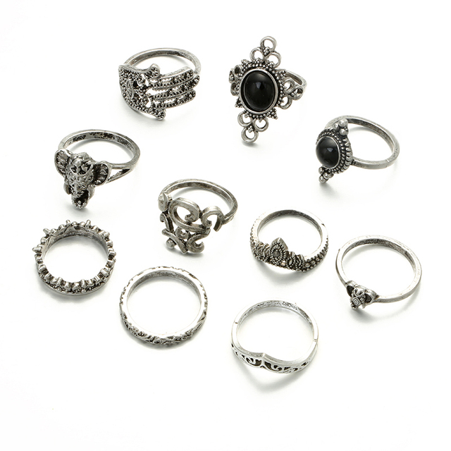 10pcs/set Vintage Punk Black Opal Elephant Ring Set for Women Antique Carved Finger Rings Party Beach Rings 4561