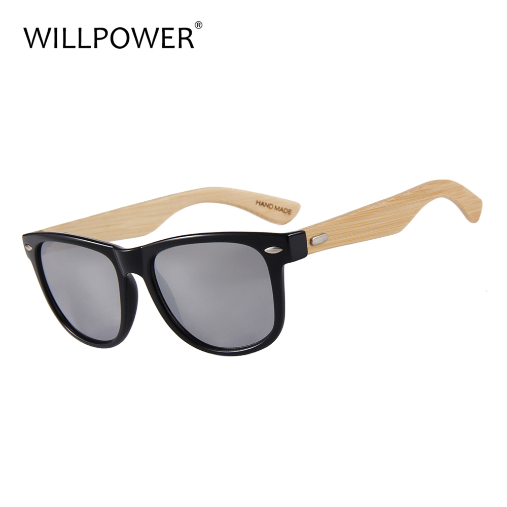 WILLPOWER Bamboo Sunglasses For Men And Women Wooden Sunglasses UV400 Mirror Lenses 2018 Hot