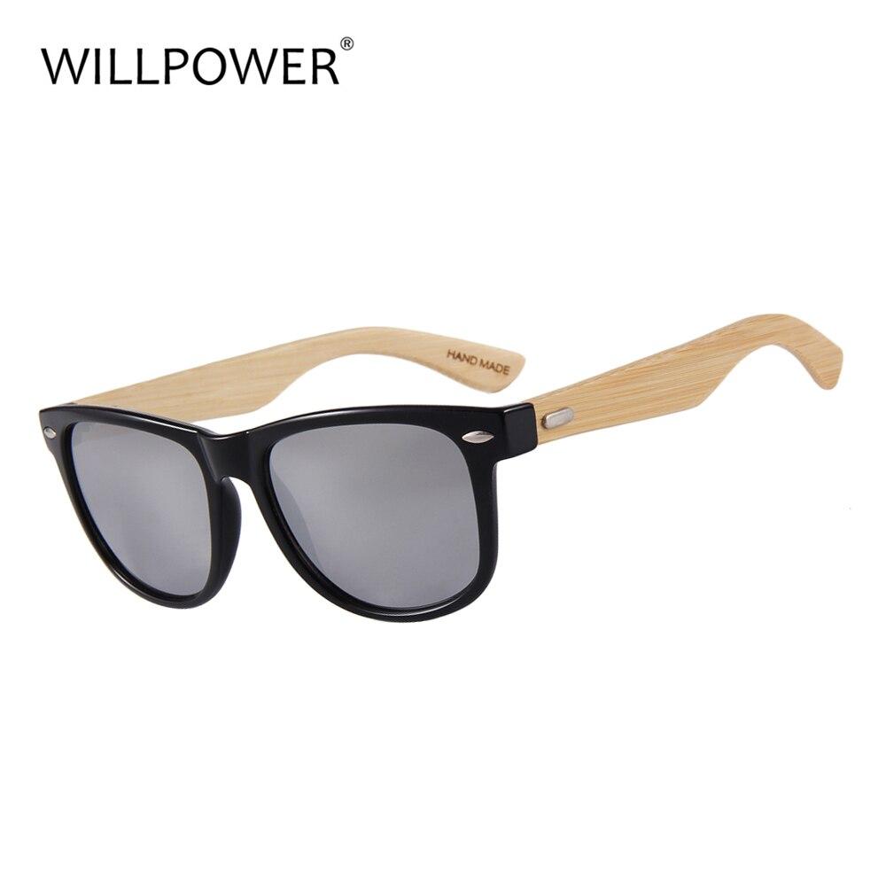 WILLPOWER bambú gafas de sol para hombres y mujeres gafas de sol de madera UV400 espejo lentes 2018 caliente