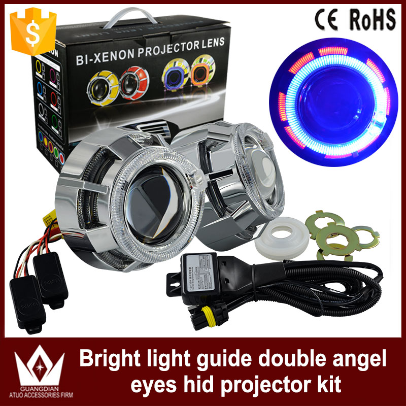 Tcart 1Set Car HID Light 2.5 Inch Round Double Angel Eyes Universal 35W H1 Bi-xenon Bulbs Hid Projector Kit Lens For Headlights