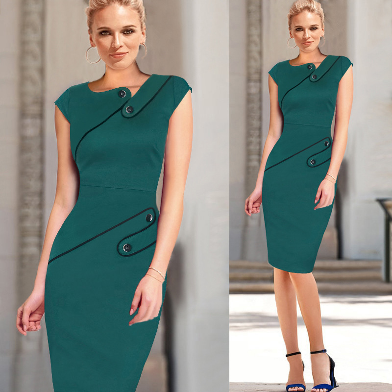 7157c95285f Womens New Vintage Pinup Rockabilly Elegant Wear To Work Business Casual  Tunic Bodycon Sheath Pencil Dress
