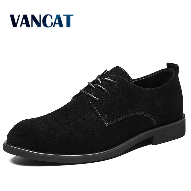 Vancat New Big Size 38-47 Casual Men Cow   Suede     Leather   Men's Shoes Pointed Toe Lace Up Oxford Formal Shoes Fashion Dress shoes