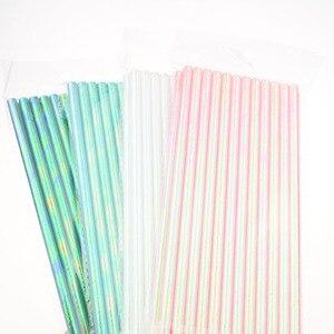 Image 2 - 25pcs/lot Pearl Rainbow Iridescent Paper Straws Kids Birthday Wedding Decoration Bridal Shower Party Drinking Paper Straws DIY