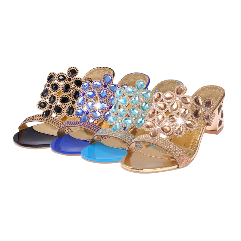 2a75fa6daf782 Lucyever 2018 Summer Women s Rhinestones Slippers Slides Fashion Thick High  Heels Gladiator Sandals Beach Flip Flops Shoes WomanUSD 13.98 pair