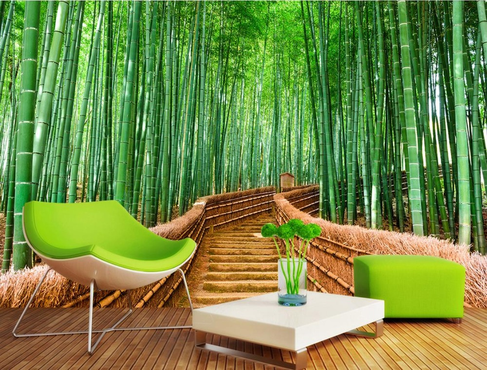 wallpaper scenery for walls Custom 3d background wallpapers Bamboo forest road background 3d