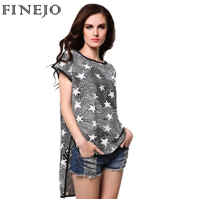 FINEJO Fashion Ocasional Das Senhoras T-shirt Das Mulheres Solto Estrela Imprimir Em Torno Do Pescoço Irregular Sides Dividir T camisa Tops S-XL 31