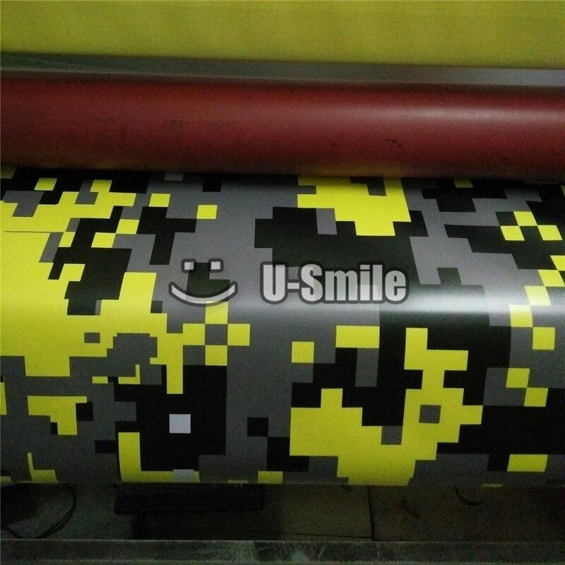 Giallo Digital Camo Pellicola Del Vinile Copriletto Pixel Camouflage Wrap Per Il CAMION SUV Autoadesivo della Bolla di Spedizione Size1.52 * 30 m/ rotolo - 2