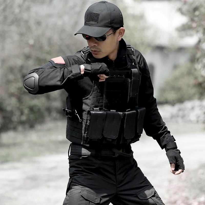 Chaleco de caza de camuflaje para hombre, equipo militar, Airsoft, uniforme militar, Chaleco de combate, Colete Tatico, Chaleco del ejército, negro - 5