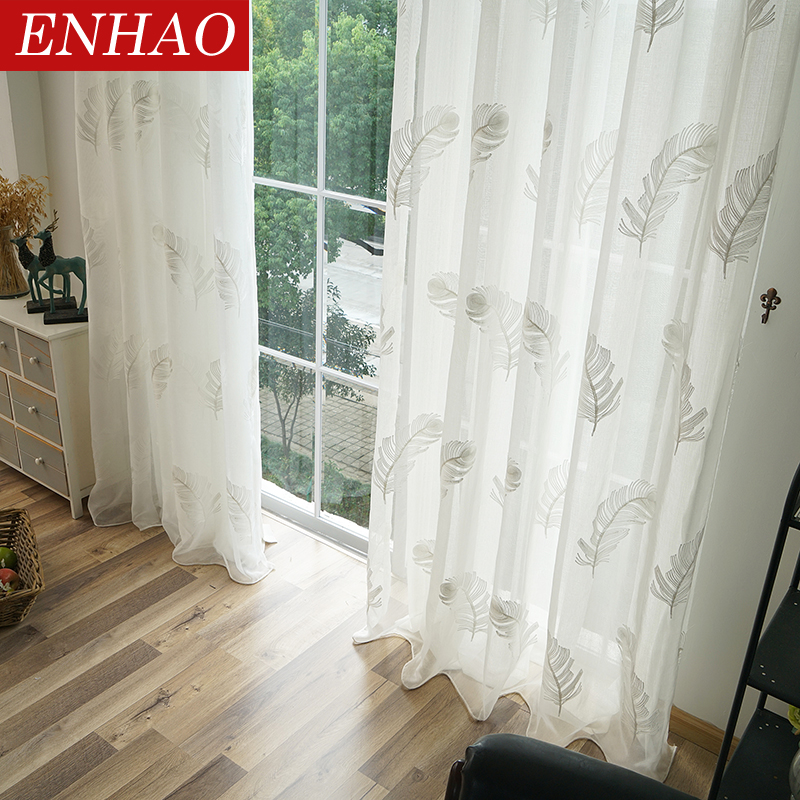 ENHAO Tulle Curtains Voile Bedroom Living-Room Embroidered Kitchen White Elegant Window