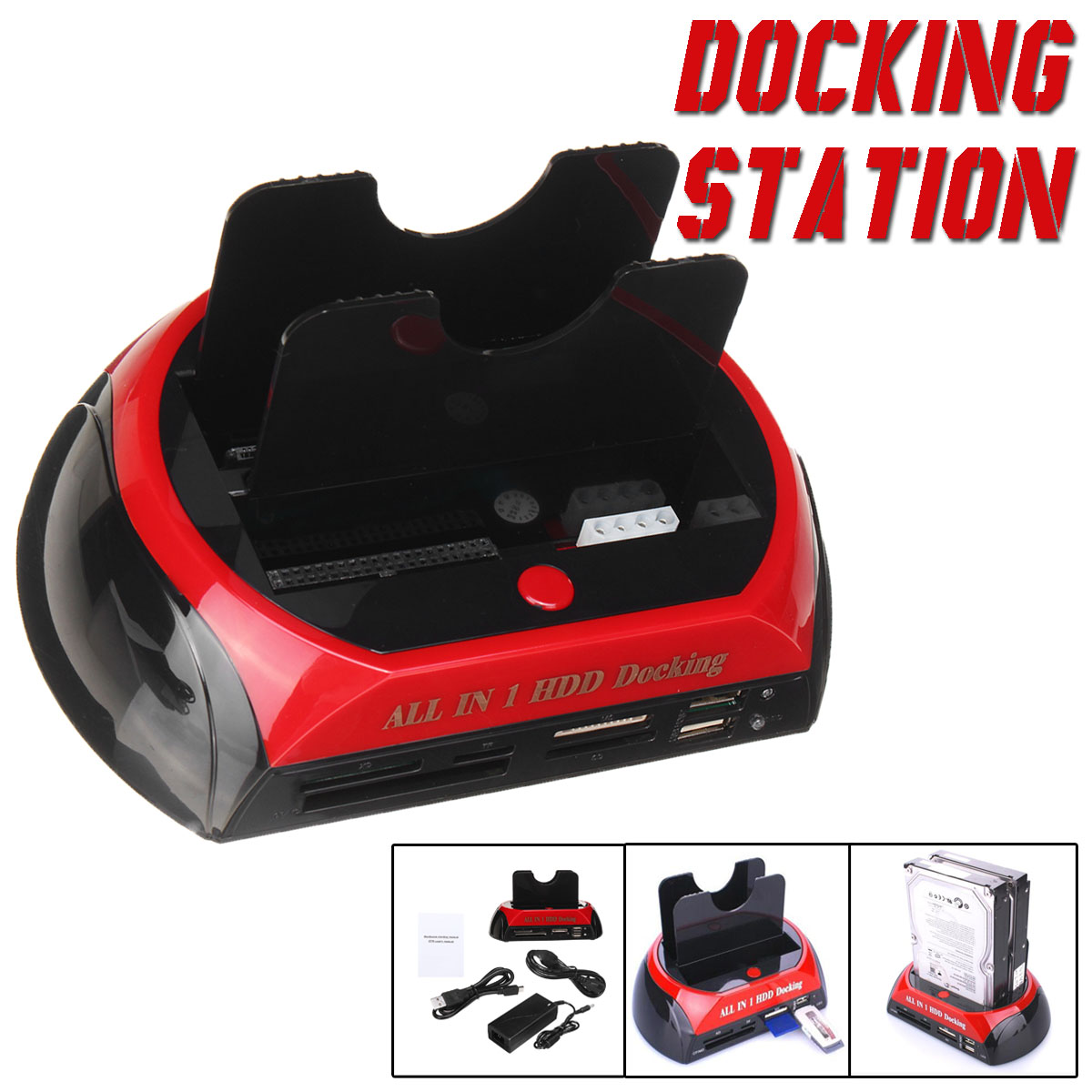 S SKYEE HDD Docking Station HDD Case Dual Slots 2.5 3.5 Reader USB 2.0 SATA IDE HDD Docking Station Black Red