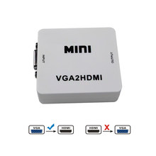 1 Piece VGA to HDMI Converter Female to Female with Audio Port Use USB Cable for Power Supply For Projector PC Laptop to HDTV(China)