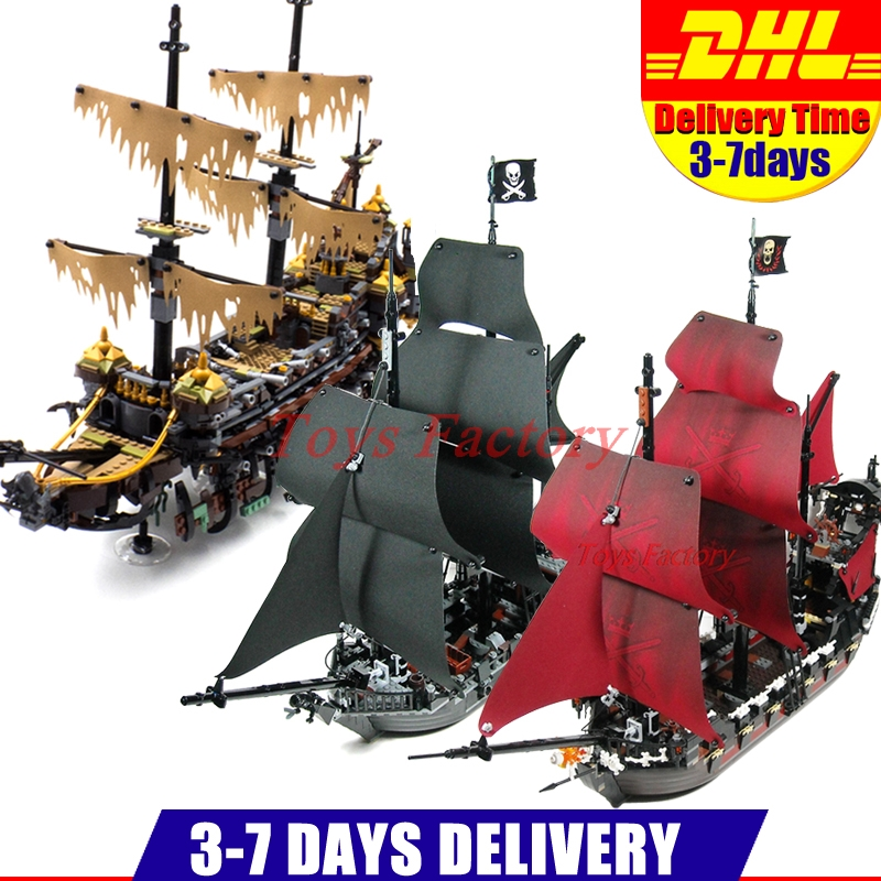 LEPIN 16042 2344PCS Pirate of The Caribbean The Slient Mary Set +16006 The Black Pearl Ship+16009 Queen Anne's revenge Ship Set lepin 16042 2344pcs pirate of the caribbean ship slient mary children educational building blocks bricks compatible 71042 toys
