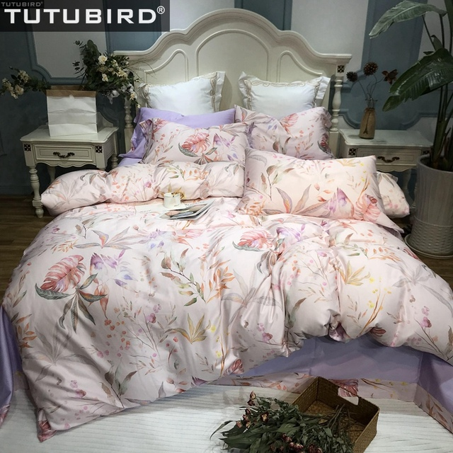 Egyptian Cotton Bed Linen Sheets Soft Satin Leaf Frond Print Bedding Sets Past Duvet Cover Pillowcases