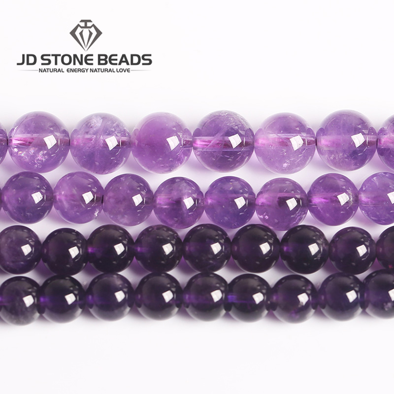 "3A Factory Price Natural Amethyst Round Loose Beads 15"" Strand 4 6 8 10 12 14MM Pick Size Amethyst For Jewelry Making Gemstone"