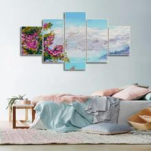 Laeacco Canvas Calligraphy Painting Abstract 5 Panel Garden Wall Art Mountain  Posters and Prints Home Living Room Decor
