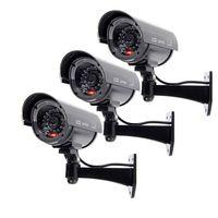3X Fake Dummy Security Bullet Camera Flashing Red IR Surveillance Black