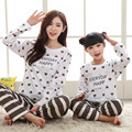 2017 Family Striped Christmas Pajamas Pure Cotton Pyjamas Kids Girls Long Sleeve Pijamas Mother and daughter clothes
