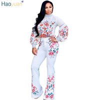 HAOYUAN Two Pieces Set Women Autumn Winter Casual Long Sleeve Floral Print White Turtleneck Tops Boot