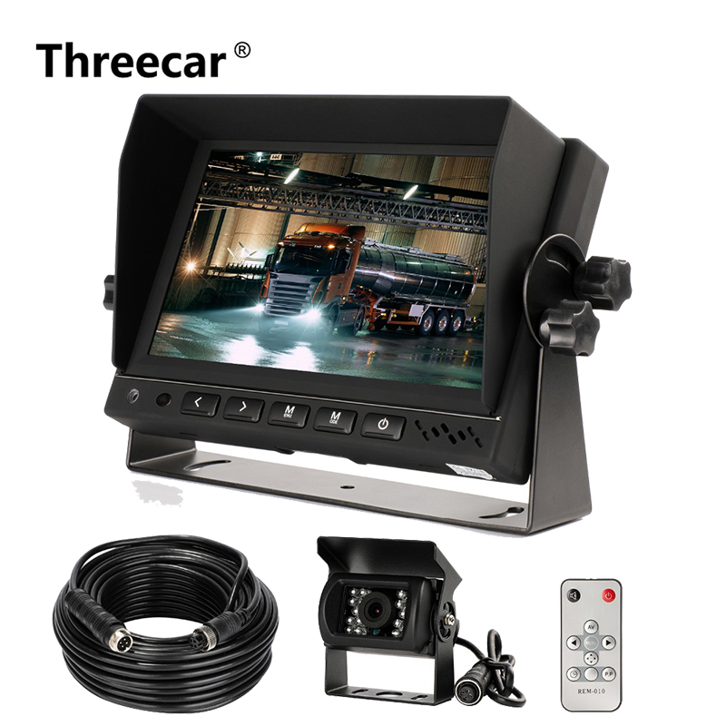 Car Parking System Rear View Camera Aviation head Video Cable with HD 7'' Truck Bus Parking Camera Monitor System  DC12V~36V|Car Monitors| |  -