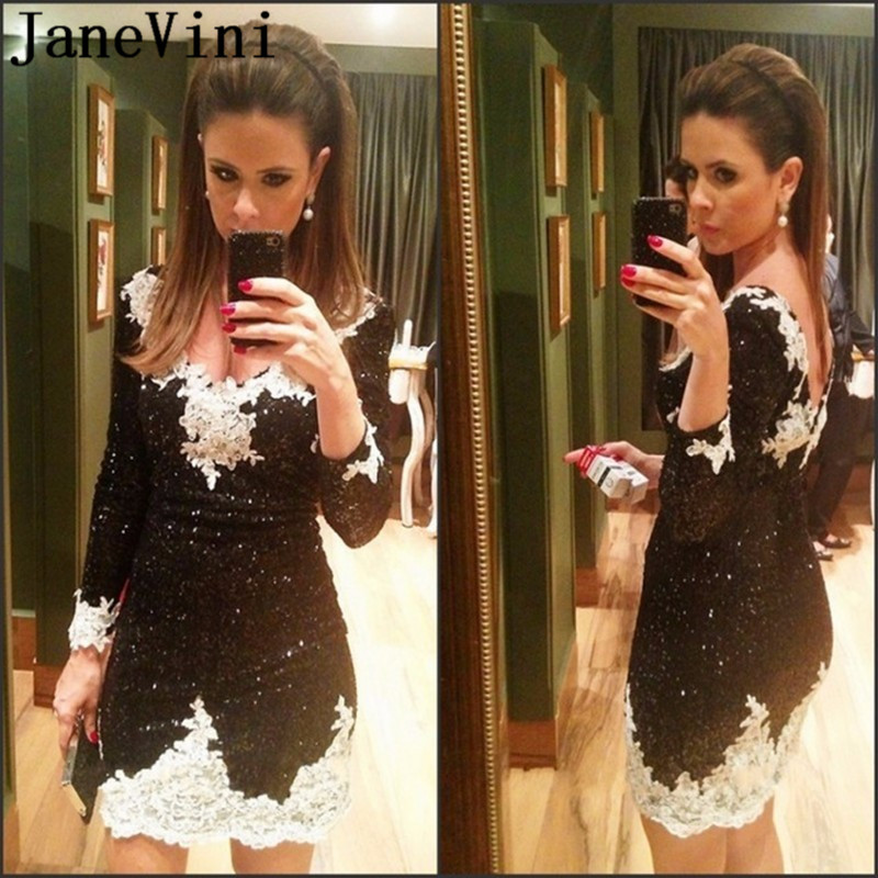 JaneVini Bling Sequined Long Sleeves   Cocktail     Dresses   with White Lace Appliques Black Short Straight   Cocktail   Party Coctel   Dress