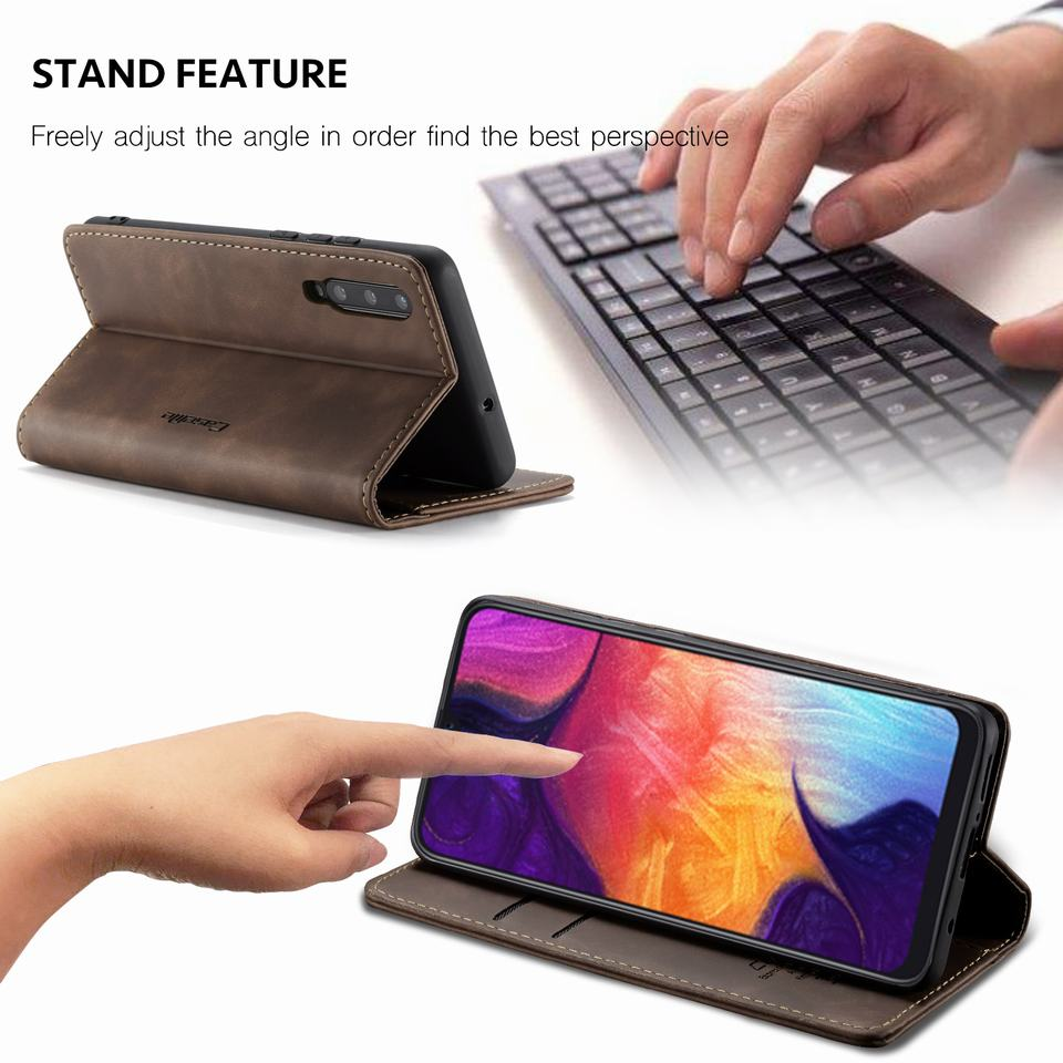 Luxury Magnetic Flip Leather Case For Samsung A50 A 50 Cases Cover Wallet Card Slots Design Business Vintage Book For Galaxy A50