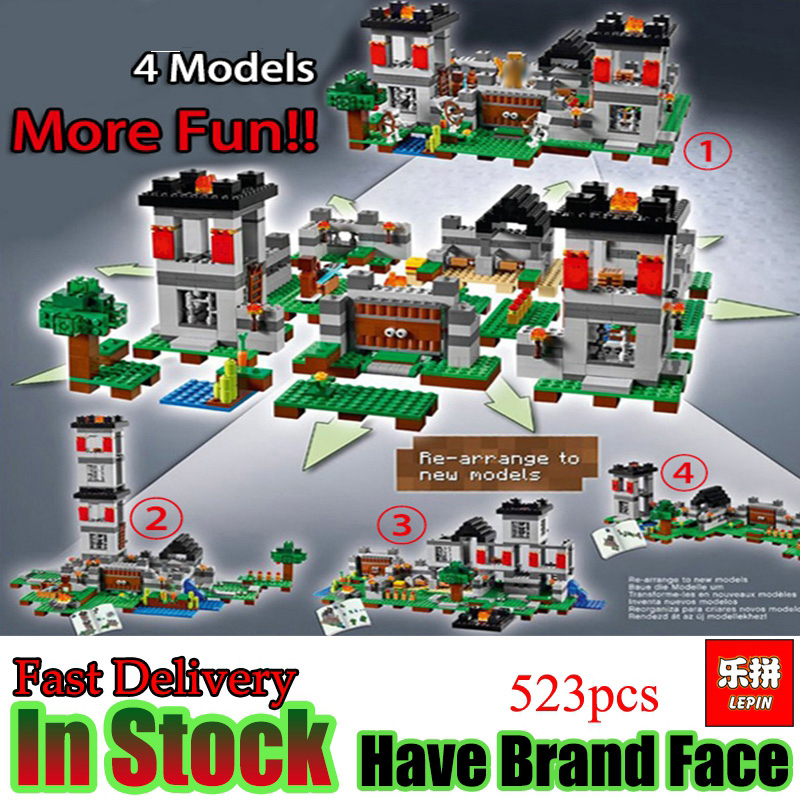 LEPIN Minecraft 523pcs Fortress village My world 4 Models House Building Blocks Bricks Set Toys For Children Gift lele bela my world minecraft dragon blue sky 548pcs building blocks bricks toys for children gift 5staregoly