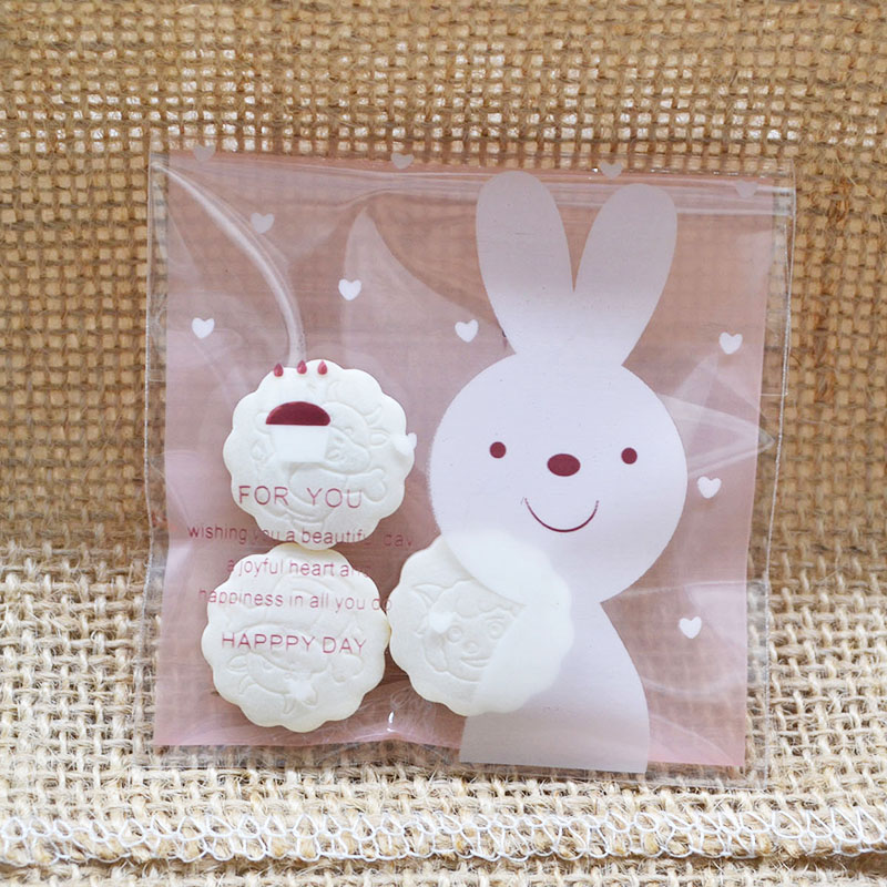 50Pcs 7cm Cute Cartoon Rabbit Gifts Bags Christmas Cookie Packaging Self-adhesive Plastic Bags For Biscuits Candy Food Package