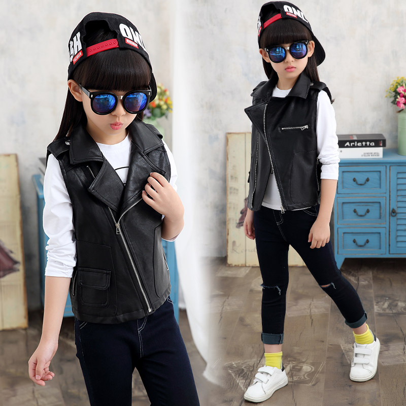 2017 Spring and autumn hot children Faux Leathe vest4 13 years old cartoon print mouse dog wild boy girl vest vest for children in Vests from Mother Kids