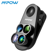 Mpow 4 in 1 Clip-on Camera Dual Lens Kit 0.65X Wide Angle Fish Eye 10X Macro Lens 1.5X Telephoto Lens For iPhone 8 7 6 6s /plus 4 in 1 phone lens 0 63x wide angle macro fish eye telephoto zoom lens for samsung s8 s9 plus phone camera lens kit