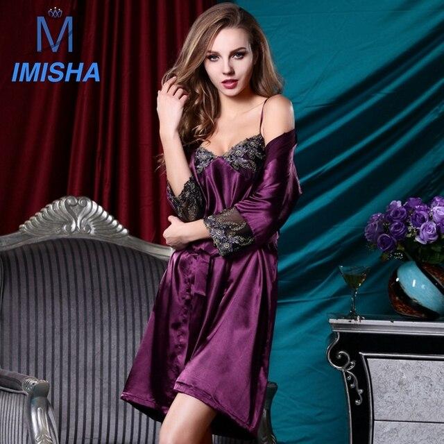 2017 Новый Стиль Весна Лето ИМИТАЦИОННЫЕ ШЕЛКОВЫЙ Мягкая Гладкая Шелк Сексуальное Nightskirt для Женщин включает в себя два набора с M, L, XL размер S1058