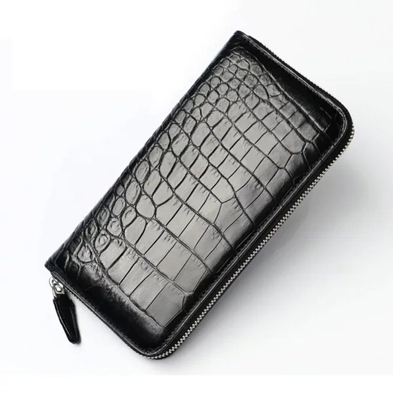 Business Style Genuine Crocodile Belly Skin Zipper Closure Men Long Wallet Coin Pocket Exotic Alligator Leather