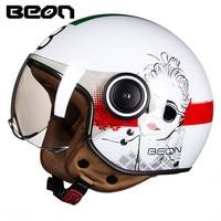 BEON Motorcycle Helmet Scooter 3/4 Open Face Vintage Helmet Women Moto Casque Casco motocicleta Capacete Vespa helmets