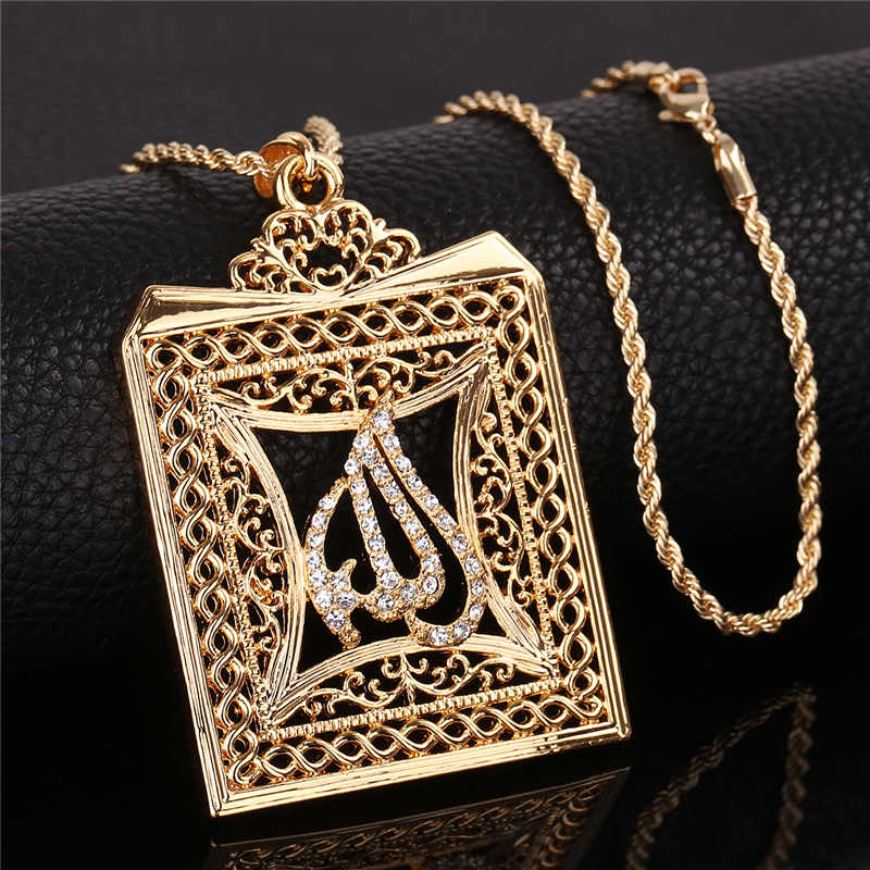 OUMEILY Big Allah Gold Silver Color  Necklace for Women Men Luxury CZ Islam Muslim Jewelry Arab Pendant Statment Long Necklace