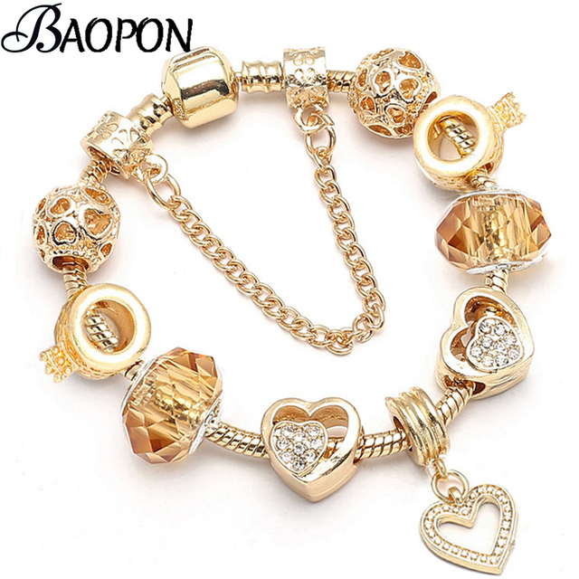 BAOPON Dropshipping New Famous Brand Jewelry Women Charm Bracelet 2018 Pandora Bracelet Gold Bracelets Pulseras Mujer