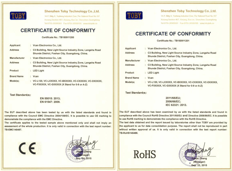 CE ROHS certificates