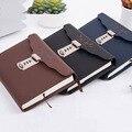 NEUE Leder notebook Bussiness Persönliche Tagebuch mit Schloss code dicken Notizblock Schreibwaren produkte Angepasst Geschenk