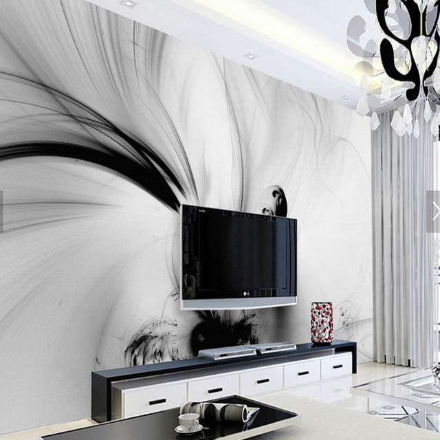 3D Abstrract Black White Stripe Line Wallpapers Photo Wall Mural ...