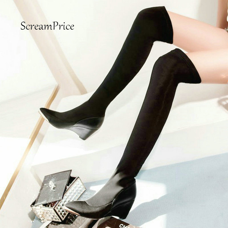 Women Slip On Wedges Elastic Boots Fashion Pointed Toe Over The Knee Boots Autumn Shoes Black Wine Red