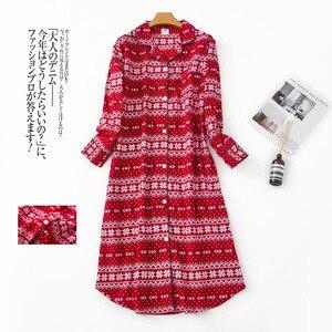 Image 2 - Plus size long sleep dress women sleepwear winter warm 100% brushed cotton long sleeve nightgowns Women pyjamas night long dress