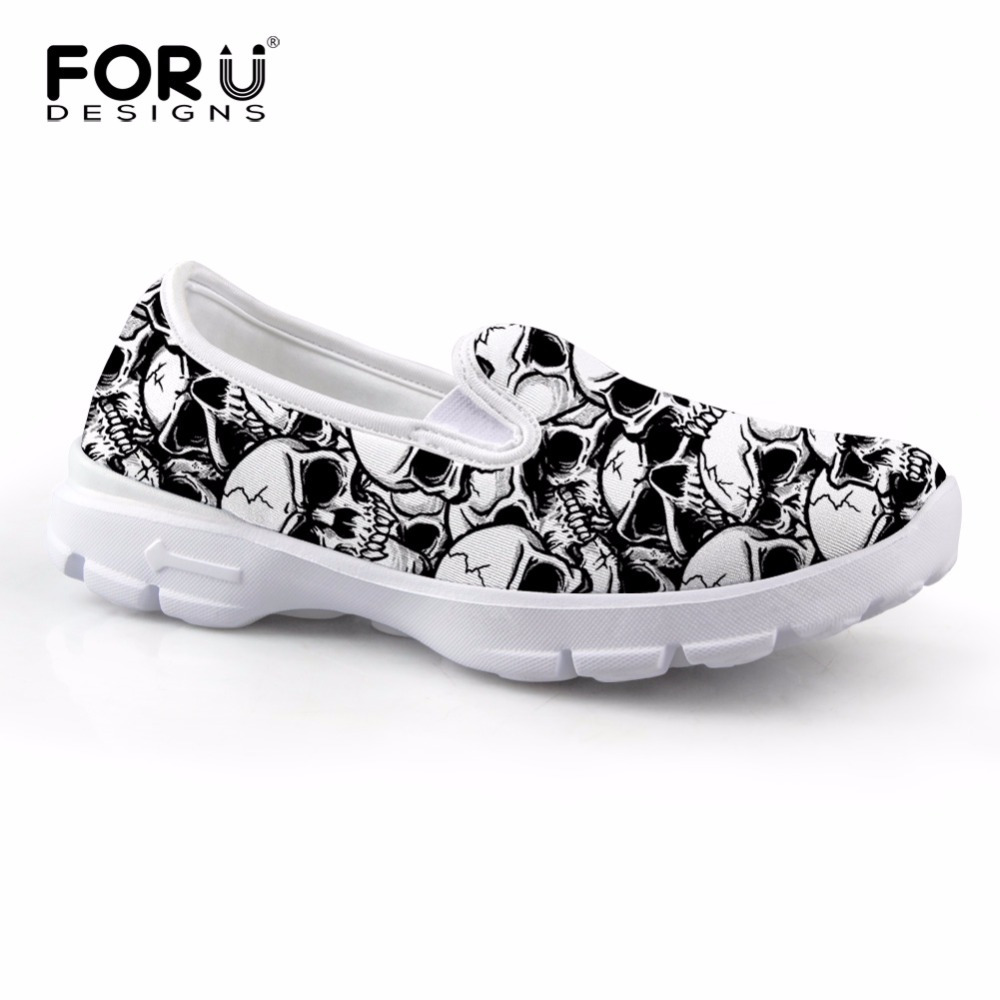 FORUDESIGNS Women Casual Flat Shoes Skull Print Ladies Breathable Mesh Slip On Loafers Leisure Female Spring Summer Boat Shoe baijiami 2017 new children solid breathable slip on pu casual shoes boys and girls spring summer autumn flat bottom shoes