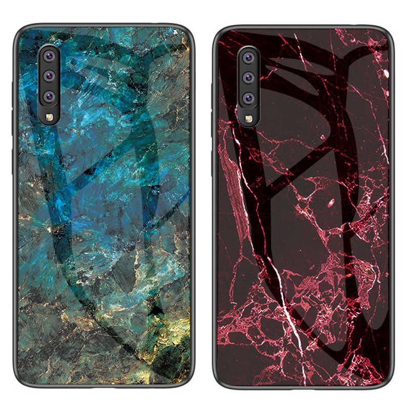 50pcs/lot For Galaxy A6S A8 Star A9 Star Hard Tempered Glass Soft Edge Marble Hard Case For Samsung Galaxy A70 A50 A60
