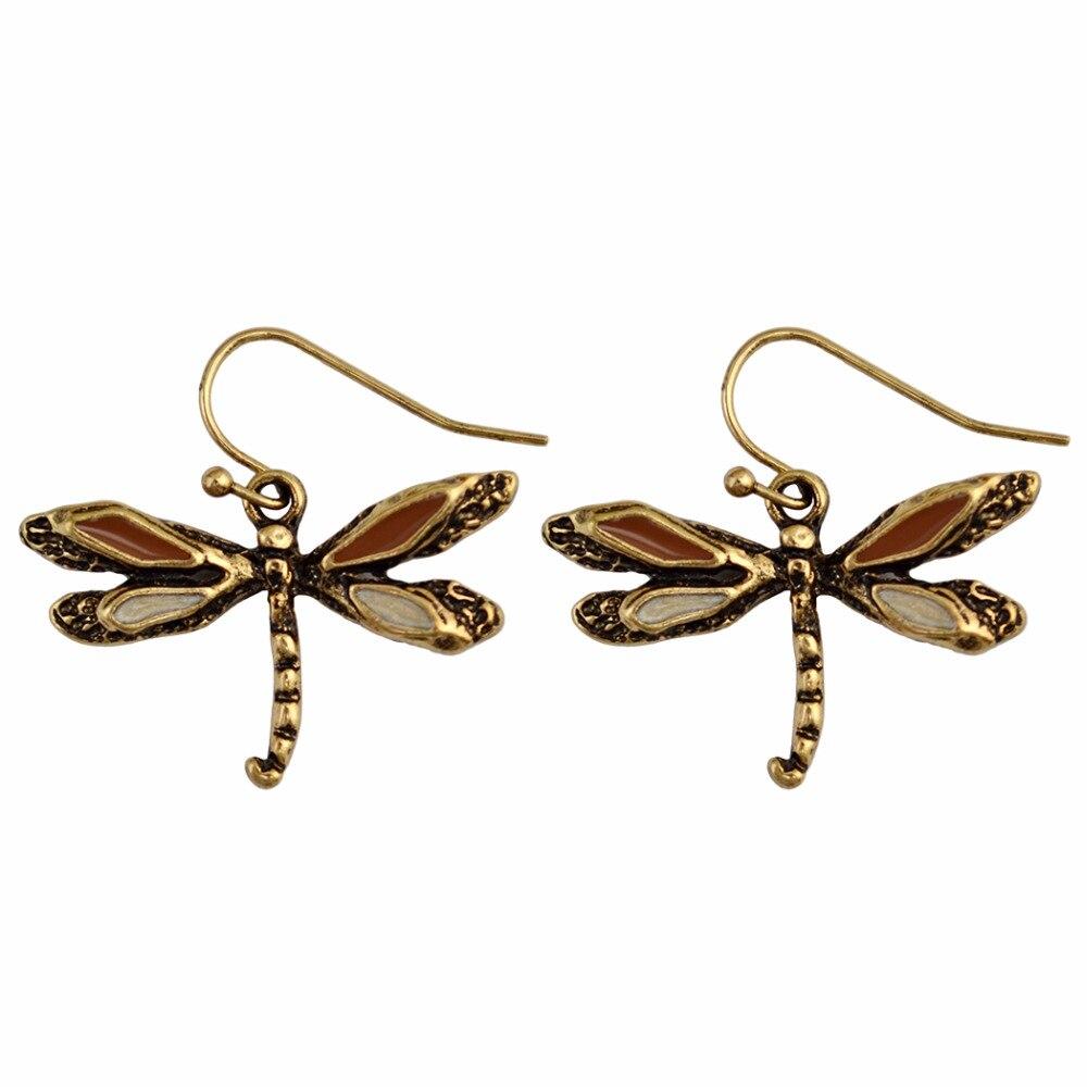 5e90727b93fa7 2 Cores Bohemian Vintage Prata Ouro Brinco Incrível Sol Dragonfly Brincos  de Argola para As Mulheres Da Moda Jóias