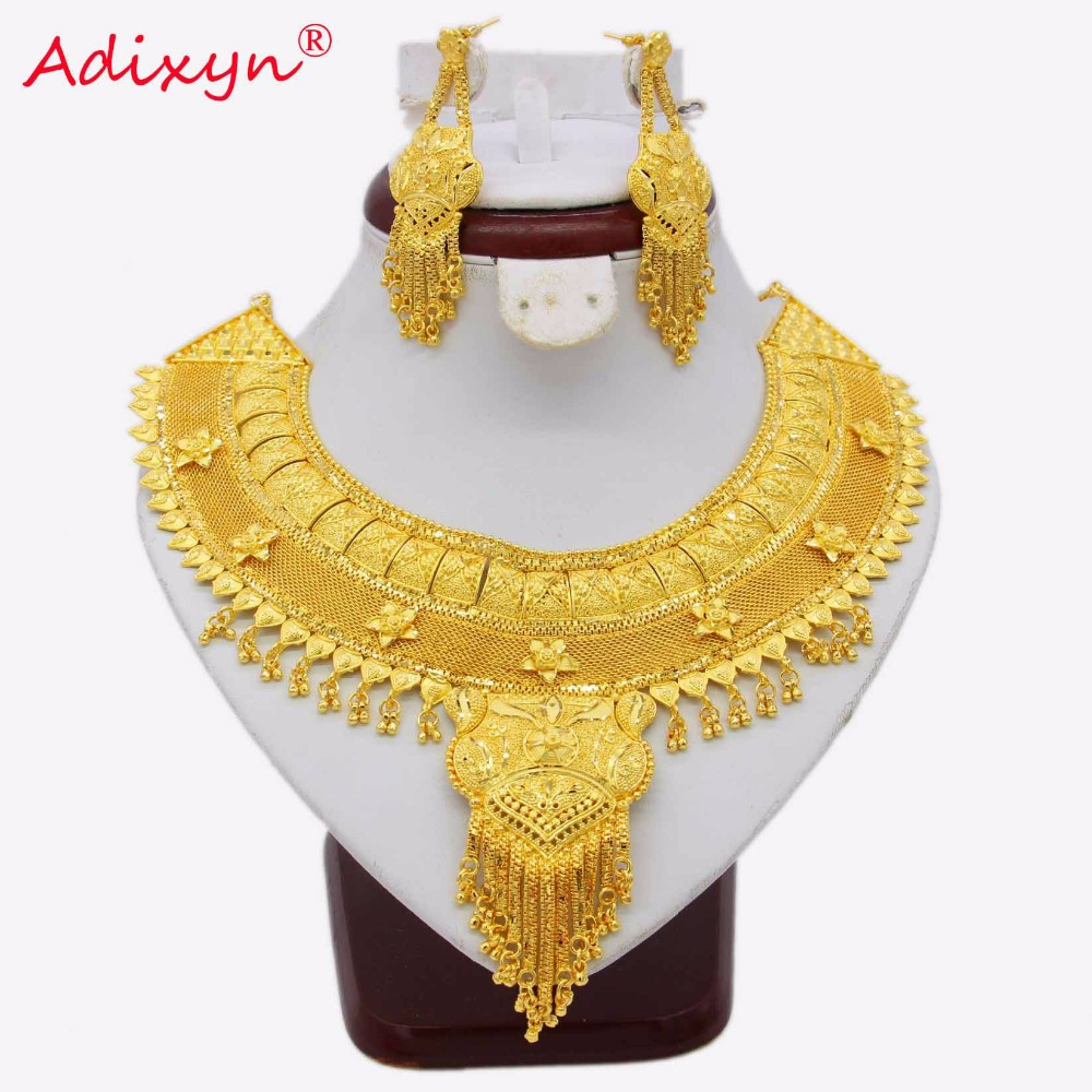 Adixyn NEW Dubai Tassel Necklace Earrings Set Jewelry For Women Gold Color African/Ethiopian/India Wedding/Party Jewelry N03064 adixyn dubai gold bangles fashion jewelry for women men gold color bangles bracelets african india middle east items free box