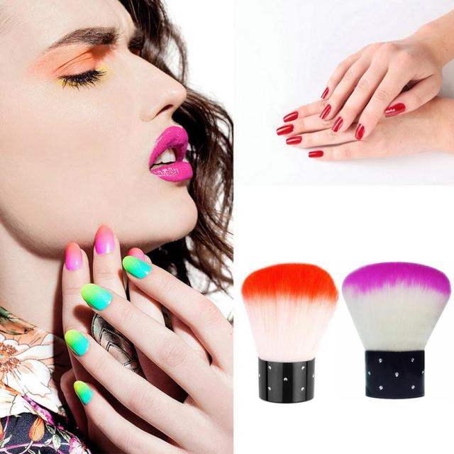 1 PC NEW Fashion Random Color Women Lady Colorful Vogue Nail Brush For Acrylic & UV Gel Nail Art Dust Cleaner Makeup Tools Makeup Brushes